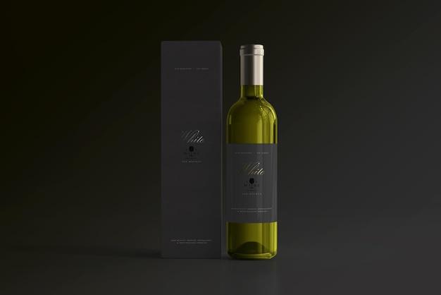 Бутылка белого вина с мокапом коробки