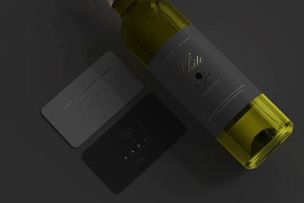 White wine bottle with business card mockup