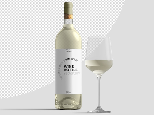 White wine bottle with glass mockup template