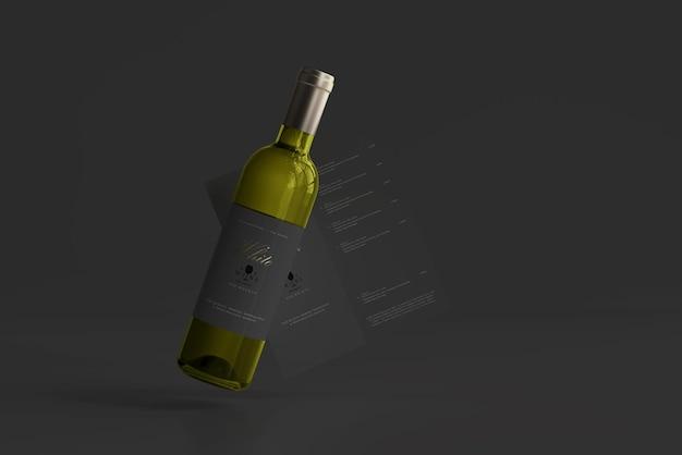 White wine bottle with menu mockup