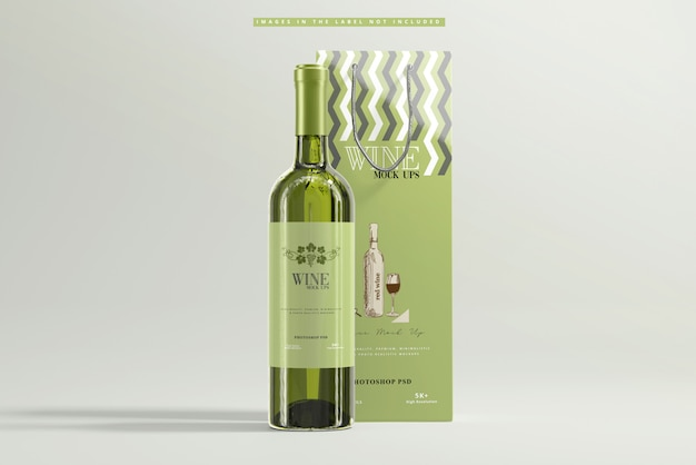 White wine with paper bag mockup