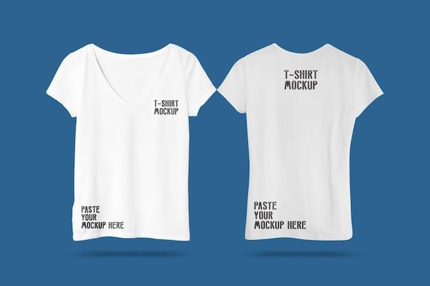 白人女性のtシャツのモックアップ