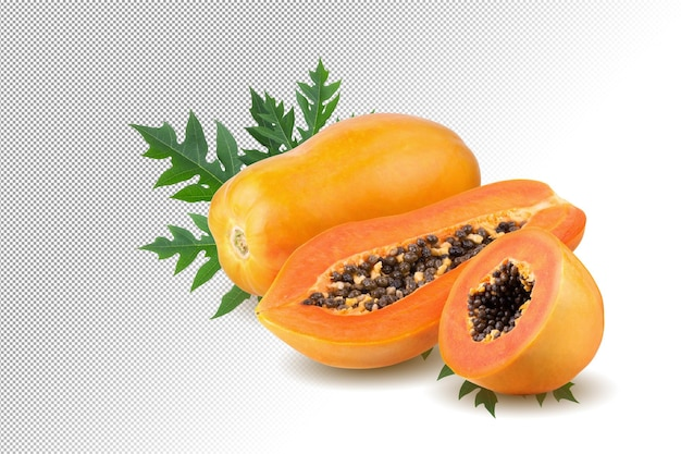 알파 배경에 씨앗이 있는 익은 파파야 과일 전체 및 절반