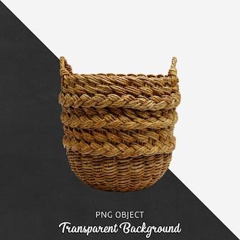 Wicker basket on transparent