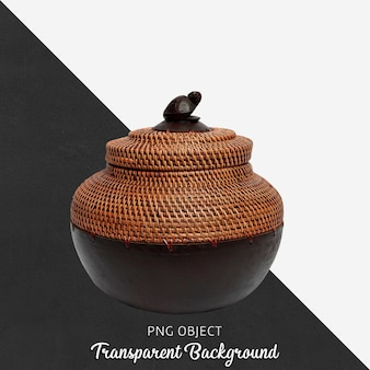 Wicker basket with lid on transparent