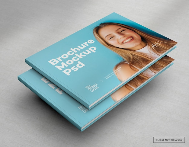 Wide brochure mockup catalog, magazine and booklet cover