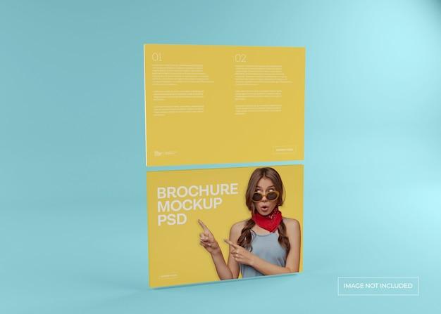 Wide magazine mockup, brochure catalog and leaflet cover