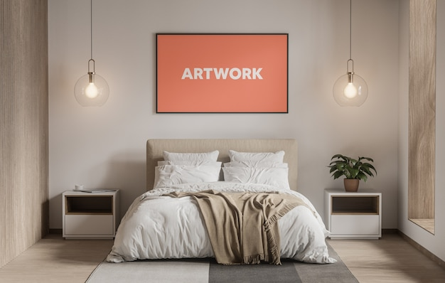 Широкий плакат в макете спальни