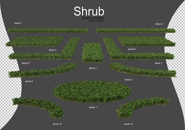A wide variety of shrubs and flowers are arranged neatly in many forms