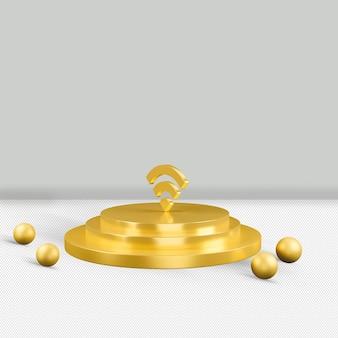 Золотой значок wi-fi изолированные 3d визуализации
