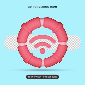 Значок wi-fi 3d-рендеринга для социальных сетей