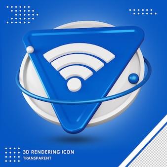 Значок сети wi-fi 3d-рендеринга