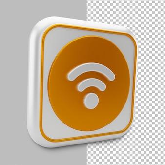 Значок беспроводной сети wi-fi в 3d-рендеринге