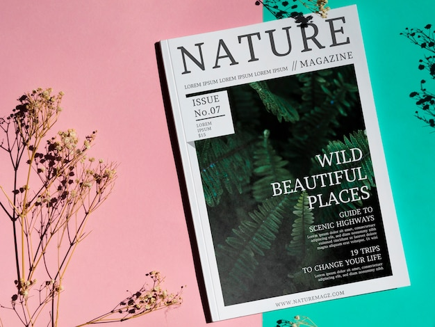 Wild beautiful places magazine on simple background