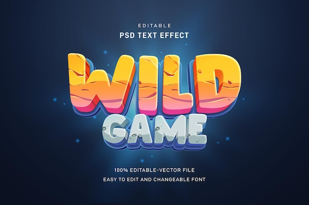Wild game text effect template
