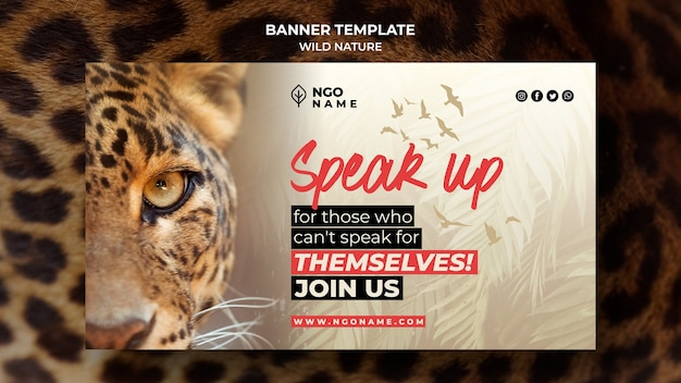 Wild nature banner template with photo of tiger