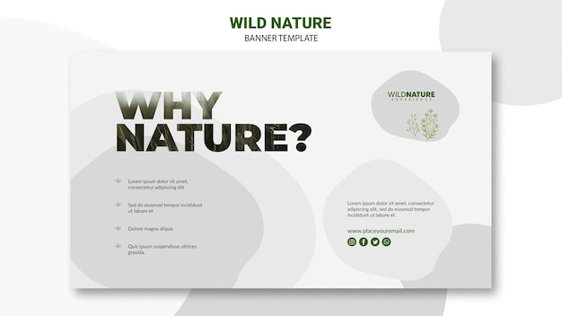 Wild nature banner template with stains