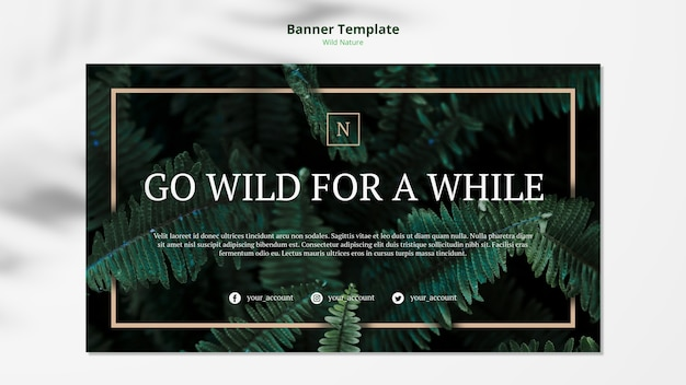 Wild nature concept banner template mock-up
