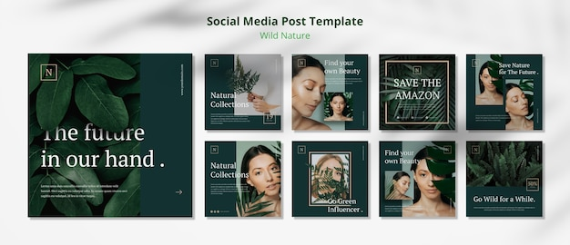 Wild nature concept social media post template