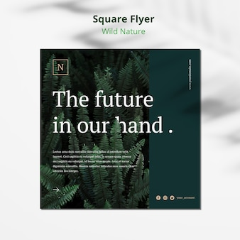 Wild nature concept square flyer mock-up