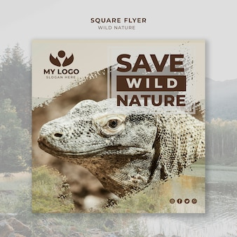Wild nature flyer template