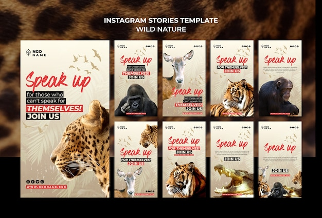 Wild nature instagram stories templates