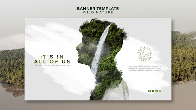 Wild nature man with waterfall design banner template