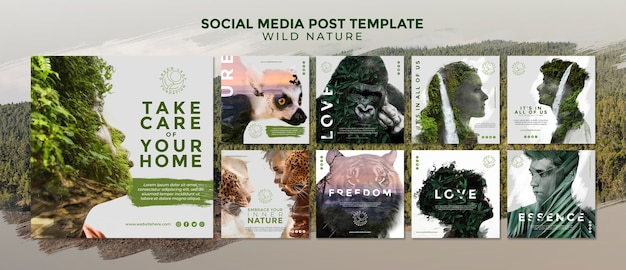 Wild nature social media post template