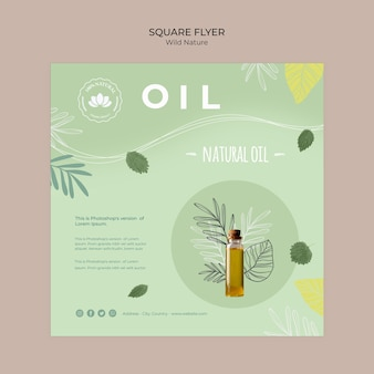Wild nature square flyer with natural oil