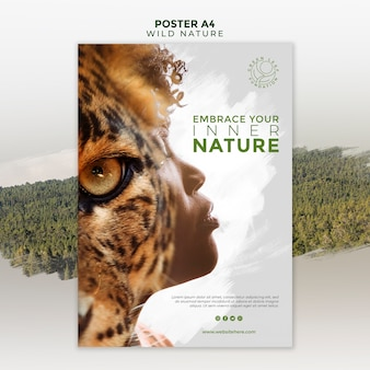 Wild nature with woman and tiger eye poster