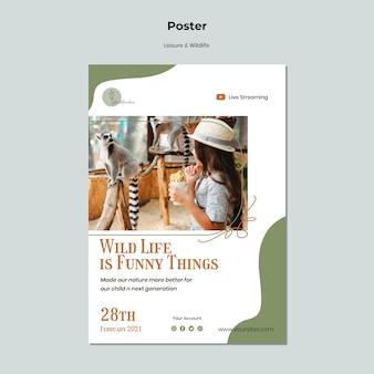 Modello di poster di fauna selvatica e tempo libero