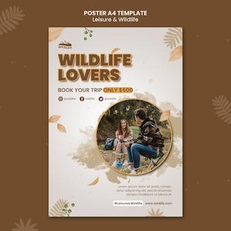 野生動物愛好家のポスターテンプレート