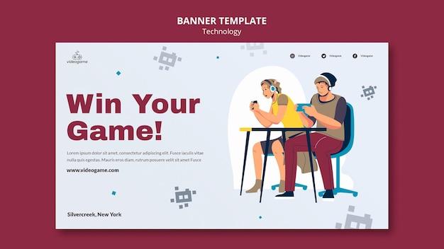Выиграйте шаблон игрового баннера