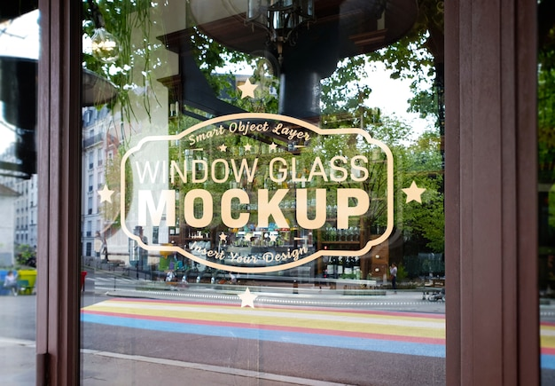 Window glass logo mockup