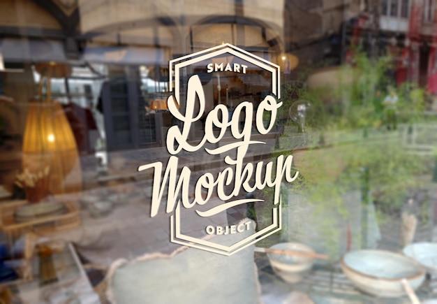 Макет вывесок логотипа оконного стекла