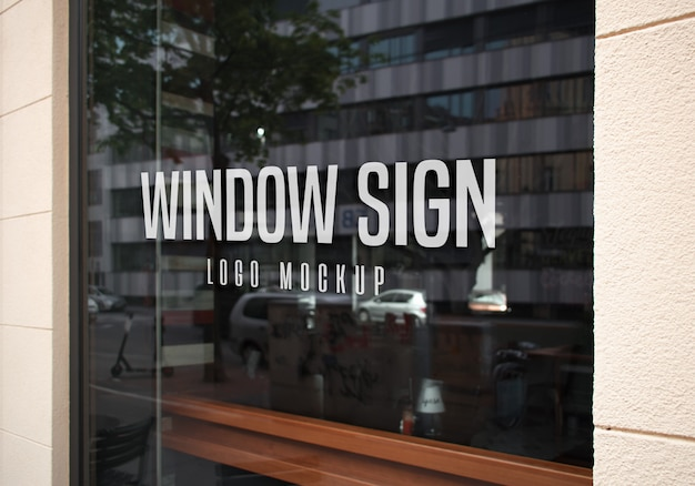 Window sign logo mockup
