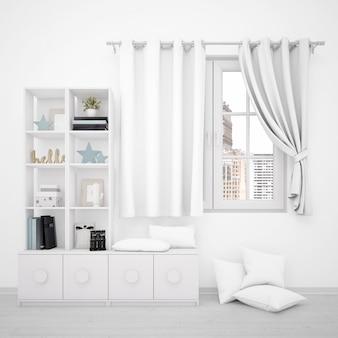 Окно с белыми занавесками и минималистской мебелью