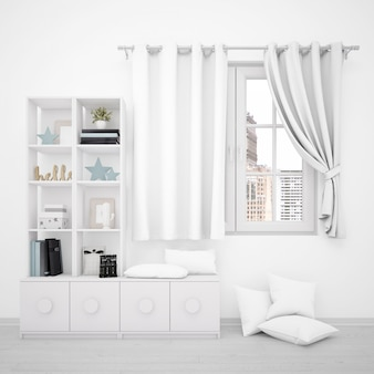 Window with white curtains and minimalist furniture