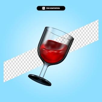 Wine 3d render illustration isolated