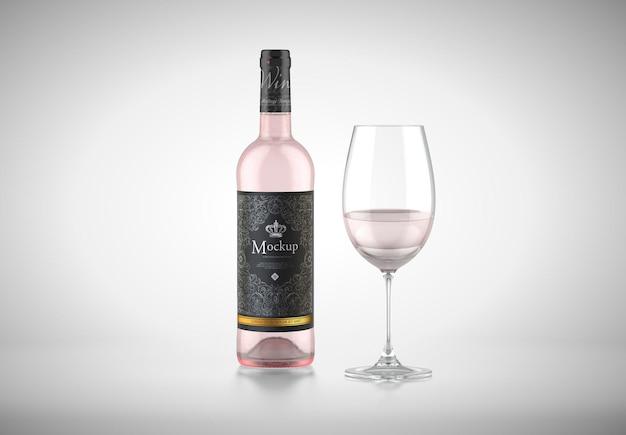 와인과 유리 병 모형