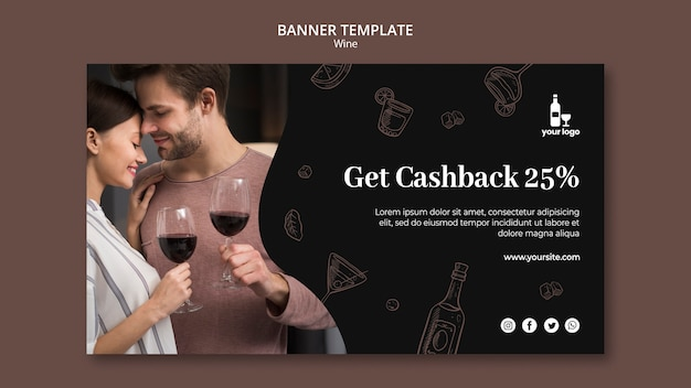 Wine banner theme template