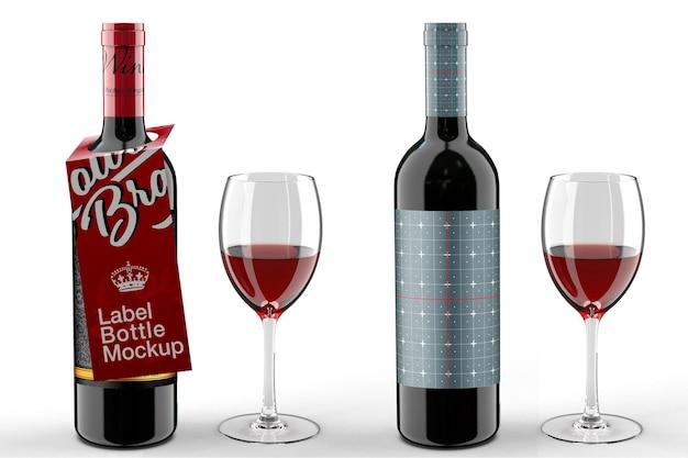 Дизайн мокапа бутылки вина и бирки вешалки в 3d-рендеринге