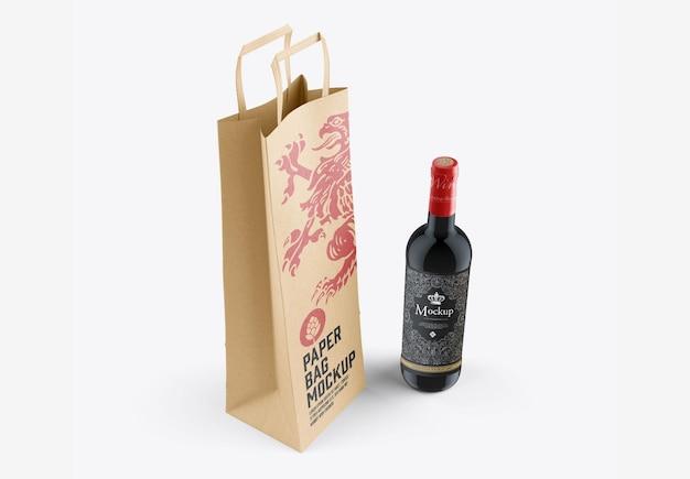 와인 병 및 가방 모형