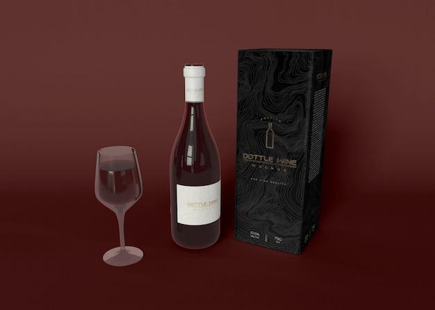 ワインボトルとパッケージのモックアップ