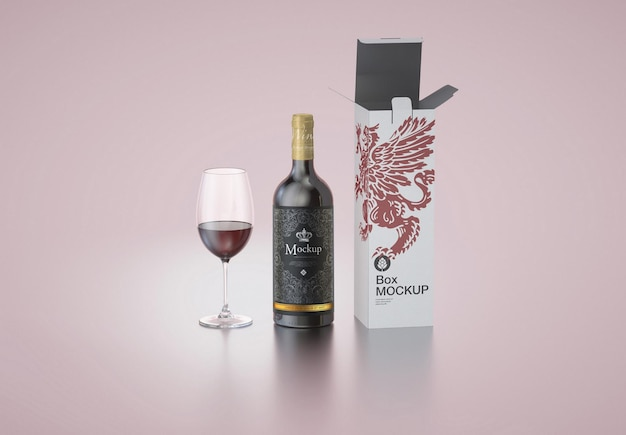Wine bottle box and glass mockup
