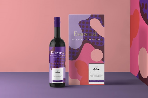 Wine bottle and box packaging mockup scene generator