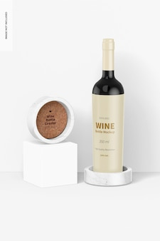 Sottobicchiere di bottiglia di vino su podio mockup