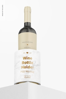 Wine bottle holder mockup, low angle view