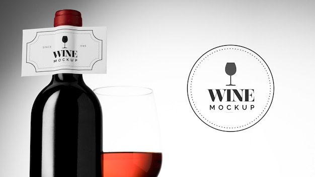 Wine bottle label and glass mock up