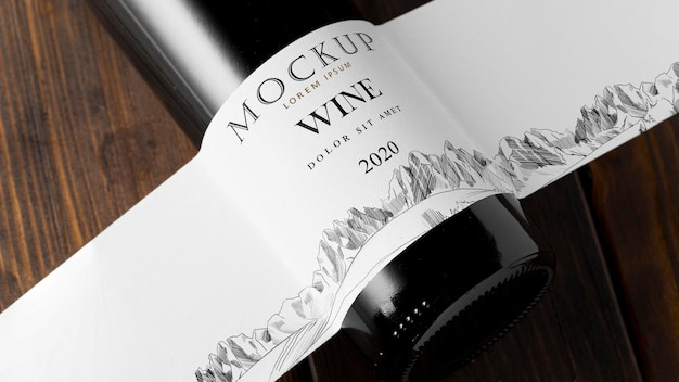 Etichetta della bottiglia di vino mock up close up